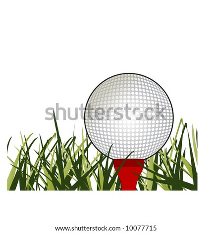 golfball on tee in grass