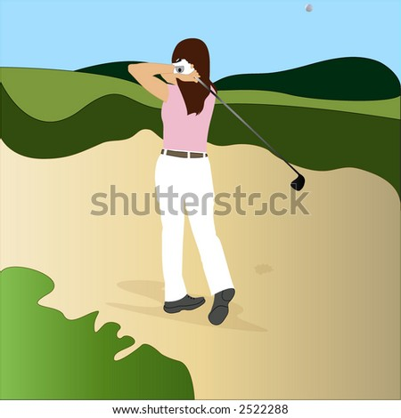 golfer getting out of sand trap - stock vector