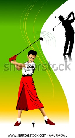 golfer has hit the ball (vector illustration); - stock vector