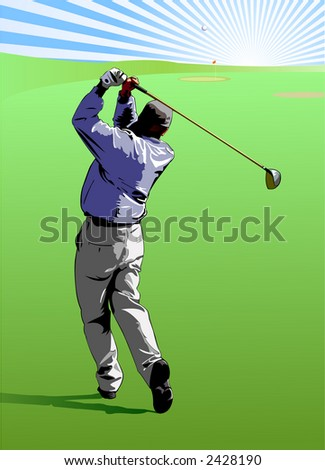 Golfer hitting a golf ball straight to the green - VECTOR - stock vector
