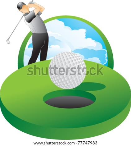 Golfer hitting a hole in one
