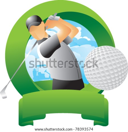 Golfer hitting golf ball in round green display - stock vector