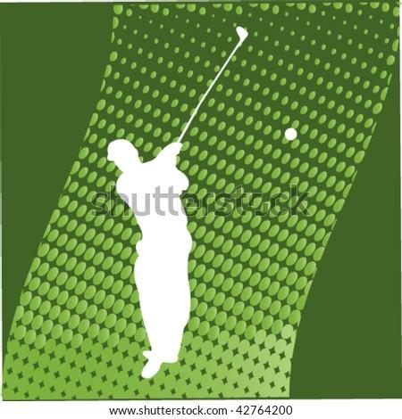 Golfer Silhouette - vector - stock vector