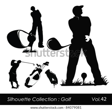 Golfer silhouette.Vector illustration - stock vector