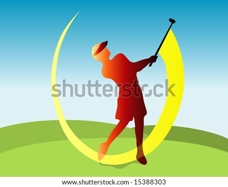 Golfer silhouette with yellow swing shadow
