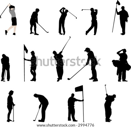 golfer silhouettes - stock vector