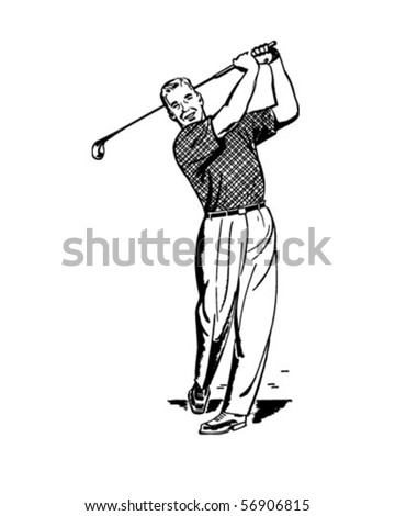 Golfer 2 - Teeing Off - Retro Clip Art - stock vector