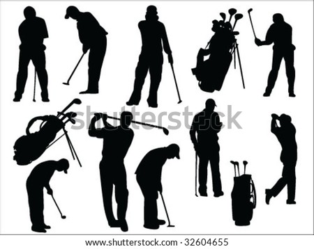 golfers silhouette collection vector - stock vector