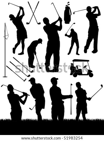 Golfing Vector Elements Silhouettes - stock vector