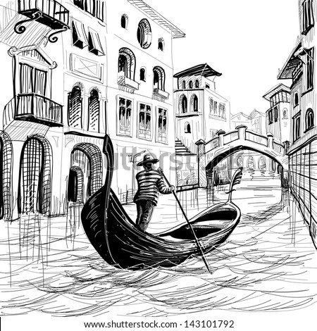 Gondola in Venice vector sketch; the is hand drawn, not auto-traced - stock vector