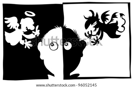 Good and Bad, Angel and Demon characters in silhouette. - stock vector