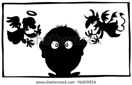 Good and Bad, Angel and Demon silhouette characters . - stock vector