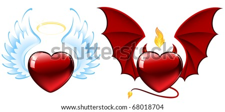 Good and evil hearts, illustration - stock vector