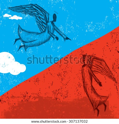 Good and Evil spiritsGood and evil represented by an angel in the clouds and a fallen angel in hell.  - stock vector