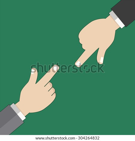 Good choose and pointing finger in flat design . Vector illustration. - stock vector