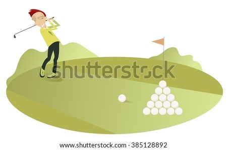 Good day for playing golf. Smiling golfer makes a lot of good shots  - stock vector