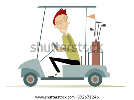 Good day for playing golf. Smiling man is going to play golf in the golf cart  - stock vector