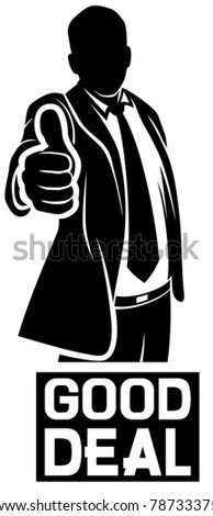good deal (businessman showing thumbs up) - stock vector