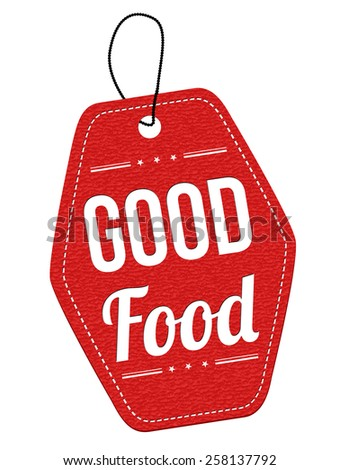 Good food red leather label or price tag on white background, vector illustration - stock vector