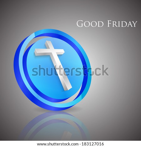 Good Friday concept with 3D Illustration of Jesus cross on grey background. - stock vector