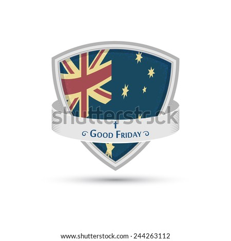 Good Friday the Australian flag on the shield, Isolated on white background - stock vector