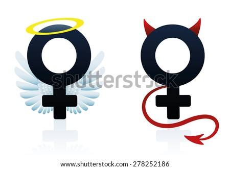 Good girl angel and bad girl devil figured as the female symbol. Isolated vector illustration on white background. - stock vector