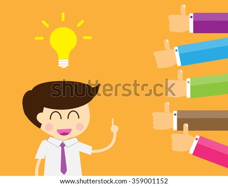 Good idea concept. Hand holding a lightbulb while other hands showing thumbs up hand sign. Flat style. Business strategy planning objects. businessman. Like hand sign. - stock vector