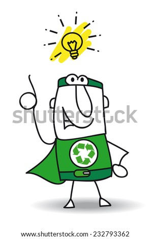 Good idea Super Recycling Hero. Super Recycling Hero have a good idea ! He can help your company to recycle your rubbish ! - stock vector