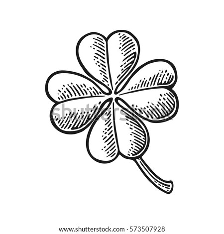 good luck four leaf clover vintage black vector engraving illustration for info graphic poster