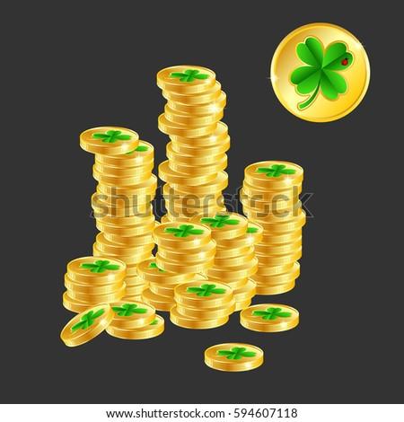 Good Luck Money Pile Gold Coins Stock Vector 594607118 Shutterstock