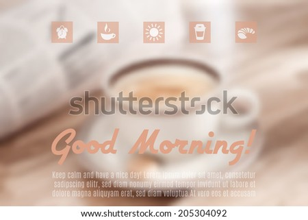 Good Morning! Blurred vector background with first cup of coffee and today's newspaper. Matching set of icons on top. - stock vector