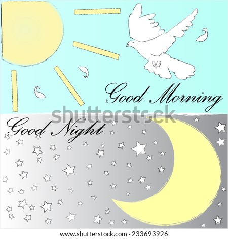 Good Morning.Good Night. - stock vector