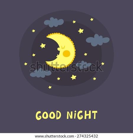 Good night card - stock vector