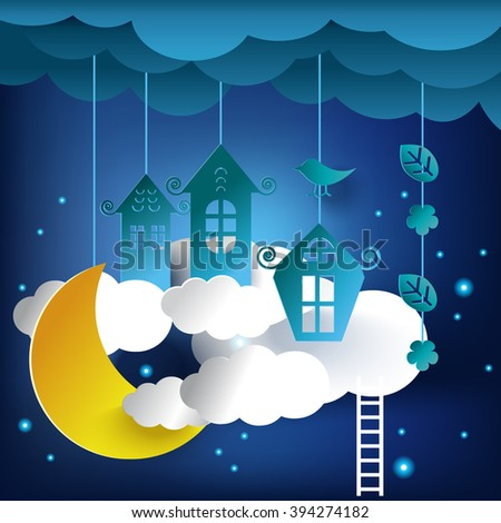 good night card, paper moon, paper home,paper cut style, vector illustration - stock vector