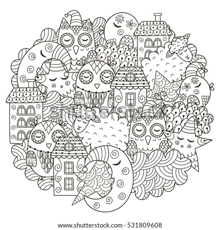 Good night circle shape pattern coloring stock vector for Goodnight moon tattoos