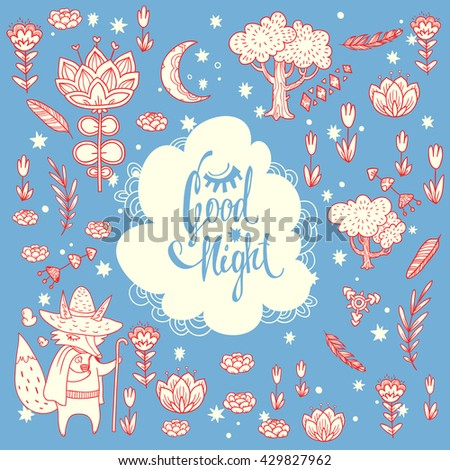 Good night lettering. childish vector background with wonderful forest glade. doodle illustration with moon,  trees, flowers and cute cartoon Fox wayfarer in cloak and with staff - stock vector