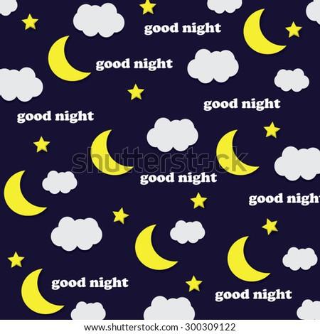 Good Night.Sweet dreams.Moon and stars. - stock vector