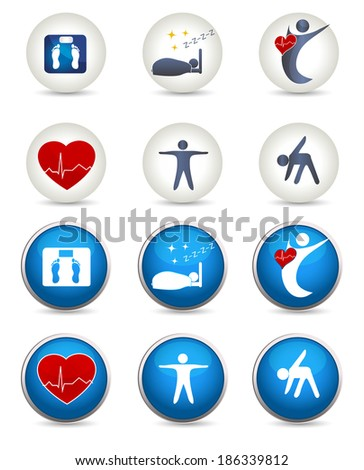 Good sleep, fitness and other Healthy living icons. Two styles white and blue. Fitness, healthy weight, good sleep leads to healthy heart and life. - stock vector