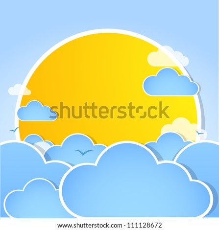 Good weather background. Blue sky with clouds - stock vector