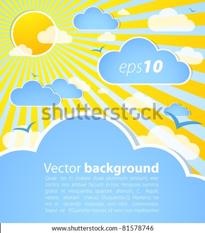 Good weather background. Blue sky with clouds and sun - stock vector