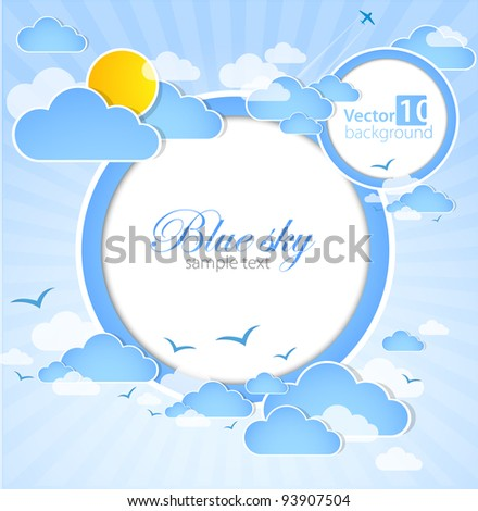 Good weather round background. Blue sky with clouds. Vector - stock vector