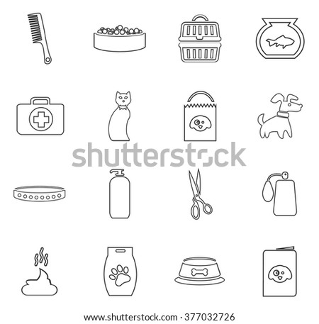 Goods for pets icon set for web sites and user interface - stock vector