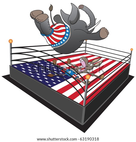 GOP smack down. Republican elephant does a swan dive on the Democrat donkey. - stock vector