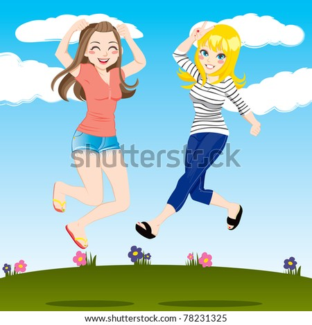 Gorgeous brunette and blonde women friends jumping high outdoors smiling happy - stock vector