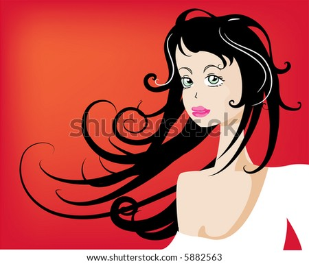 Gorgeous lady in white dress - stock vector