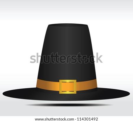 Gorgeous pilgrim hat. Vector illustration - stock vector