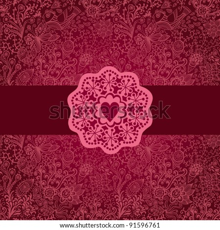 Gorgeous seamless floral background. Floral background in red with vintage  label design. - stock vector