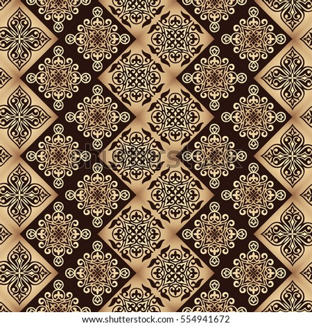 Gorgeous Seamless Patchwork Pattern From Gold Tiles Islam Arabic Indian Ottoman Motifs