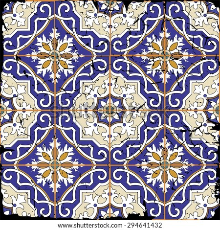 Gorgeous seamless patchwork pattern from grunge Moroccan tiles, ornaments. Can be used for wallpaper, pattern fills, web page background,surface textures. Grunge effects can be removed. - stock vector