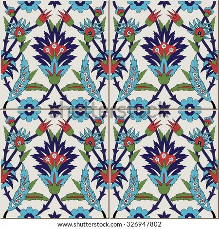 Gorgeous seamless  pattern from colorful floral Moroccan, Portuguese  tiles, Azulejo, ornaments. Can be used for wallpaper, pattern fills, web page background,surface textures.  - stock vector